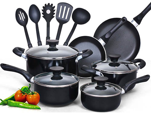 2. Non stick Black Soft handle Cookware Set