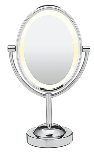 1. Oval Double-Sided Lighted Makeup Mirror