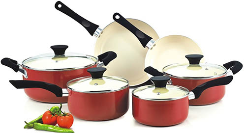 8. Nonstick Ceramic Coating 10-Piece Cookware Set