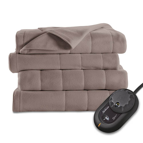 3. Sunbeam Quilted Fleece Heated Blanket