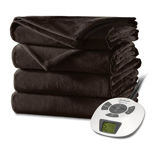 6. Sunbeam Velvet Plush Heated Blanket
