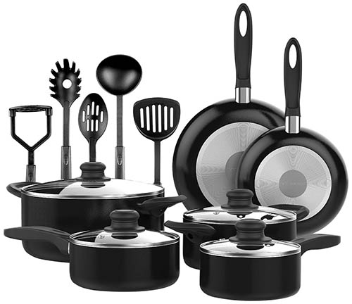 10. NonStick Black Cookware set